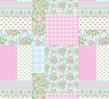 Pretty Pink Dog Roses Faux Patchwork by helikettle