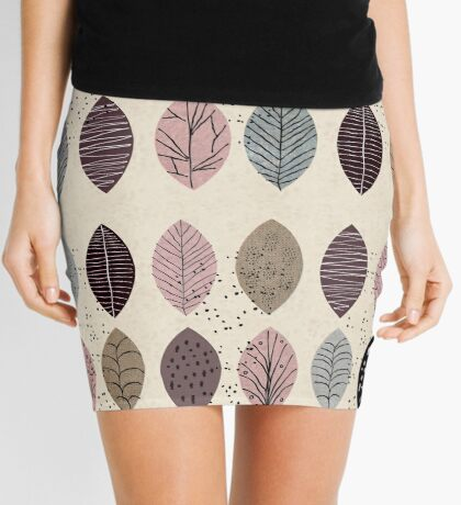 Nature Inspired Leaves  Mini Skirt