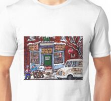 MONTREAL DEPANNEUR PAINTINGS ORIGINAL FOR SALE STREET HOCKEY GAME MONTREAL ART CITY LANDSCAPES Unisex T-Shirt