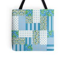 Blue Morning Glory Faux Patchwork Pattern Tote Bag