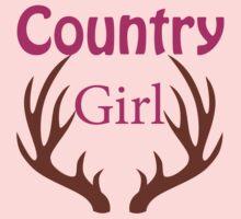Country Girl Brown Antlers Kids Tee