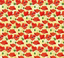 Chic Scarlet Field Poppies on Corn Yellow by helikettle