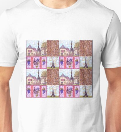 Paris Inspired Pointillism Grapes Wine Wood by Kristie Hubler Unisex T-Shirt