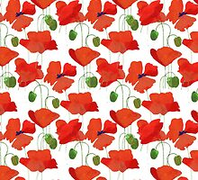 Chic Scarlet Field Poppies on White by helikettle