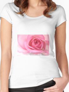 Pink rose on snow Women's Fitted Scoop T-Shirt