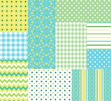 Spring Sunshine Daffodils Faux Patchwork Pattern by helikettle