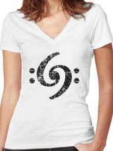 Bass Clef 69 Vintage Black Women's Fitted V-Neck T-Shirt