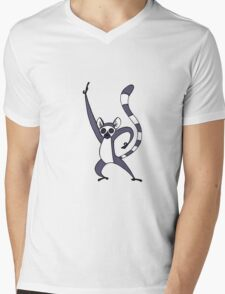Saturday Night Lemur Mens V-Neck T-Shirt