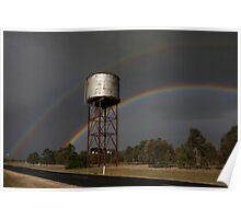 Twin Rainbows Over The Water Tower Poster