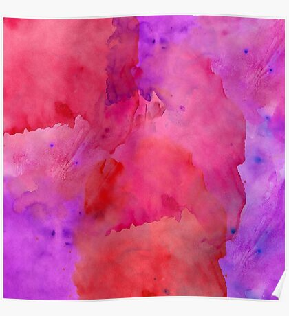 Pretty Pink, Purple, and Red Watercolor Paint  Poster