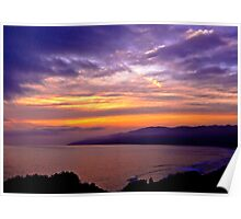 Sunset over the Point Dume , CA Poster