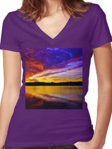 Burning sky 2 Women's Fitted V-Neck T-Shirt
