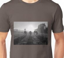 Horse Herd Grazing in a Sunrise Mist Unisex T-Shirt