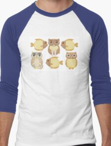 3 Fish, Dog, Cat & Owl Men's Baseball ¾ T-Shirt