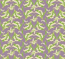 Lily of the Valley Pattern on Mauve by helikettle