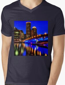 Night of Blue - Fort Point Channel, Boston Mens V-Neck T-Shirt