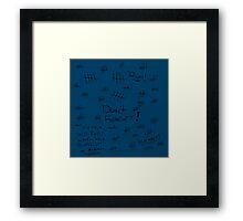 Silence - Black Marker - TARDIS Blue Framed Print