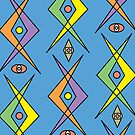 Retro Curve Blue - card by Andi Bird