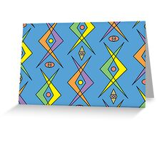 Retro Curve Blue - card Greeting Card