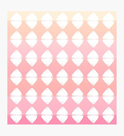 Summer Coral & White Triangle Brush Stroke Stamps Photographic Print