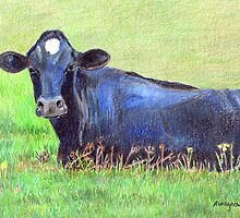 Blue Cow In A Green Pasture by arline wagner
