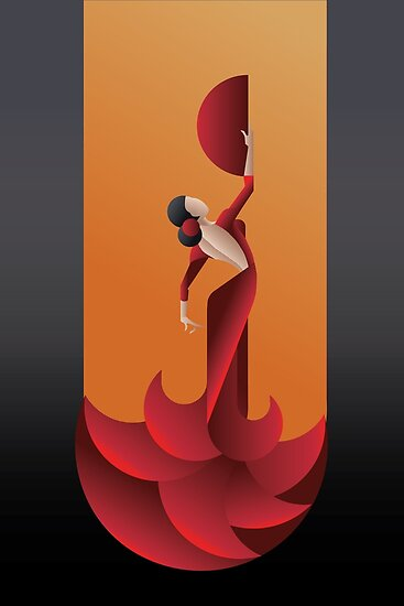 Art deco geometric styled spain flamenco dancer posters - Art deco espana ...
