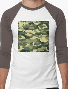 8 Bit Pixel Woodland Camouflage Men's Baseball ¾ T-Shirt