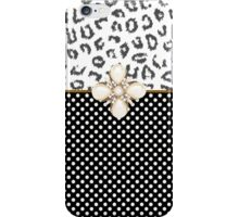 Elegant black white animal print polka dots iPhone Case/Skin
