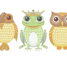 Fish Frog Owl by Jean Gregory  Evans