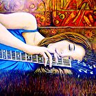 Guitar Girl in Landscape by Belinda &quot;BillyLee&quot; NYE (Printmaker)