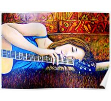 Guitar Girl in Landscape Poster