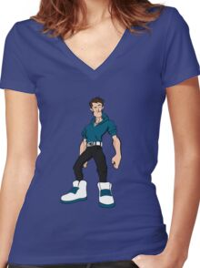 Big Shoes (Blue) Women's Fitted V-Neck T-Shirt