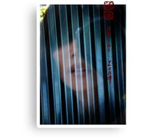 me | the glass door | the corrugated wall Canvas Print