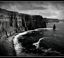 Ireland, Cliffs of Moher, County Clare. B&W treatment. by upthebanner