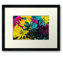 Psychedlelic Spring daisies Framed Print