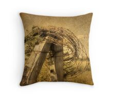 Fence Post, Old Wire Throw Pillow