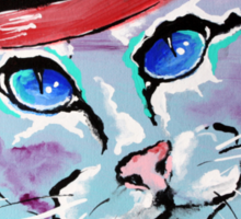 Cat With A Red Hat - Animal Art by Valentina Miletic Sticker