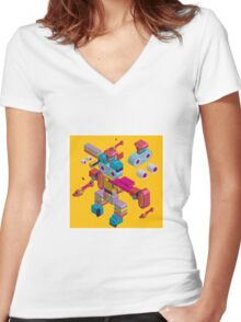 retro robot in style Women's Fitted V-Neck T-Shirt