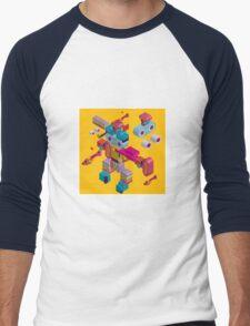 retro robot in style Men's Baseball ¾ T-Shirt