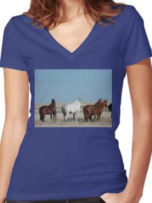 There's a cold wind  blowing #1 Camooweal Northern Territory  Women's Fitted V-Neck T-Shirt