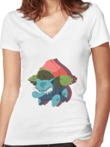 ivysaur. Women's Fitted V-Neck T-Shirt
