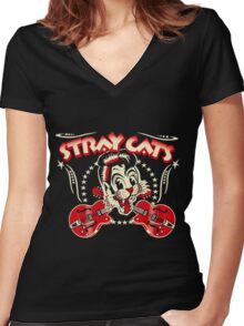 Stray Cats Women's Fitted V-Neck T-Shirt