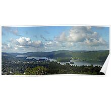 Panorama of southern Lake Windermere from Orrest Head, north-west England Poster