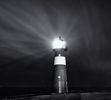 Lighthouse at night by Joel Tjintjelaar