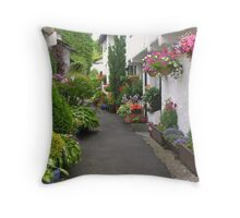 Flag Street, Hawkshead, Cumbria, English Lake District Throw Pillow