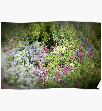 Spring garden in Pink and Blue Poster