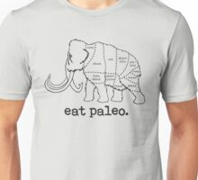Woolly Mammoth Eat Paleo Butcher Cut Black Unisex T-Shirt