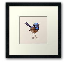Proud Little Wren, Russet, Blue and Creme Framed Print