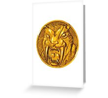 Mighty Morphin Power Rangers Yellow Ranger Saber Tooth Tiger Greeting Card