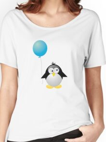 Penguin with Blue Balloon Women's Relaxed Fit T-Shirt